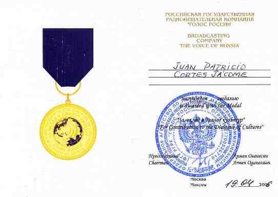Cetificado de la Medalla