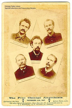 Los mártires de Chicago: August Spies, Michael Schwab, Samuel Fielden, Albert R. Parsons, Adolf Fischer, George Engel, Louis Lingg y Oscar Neebe