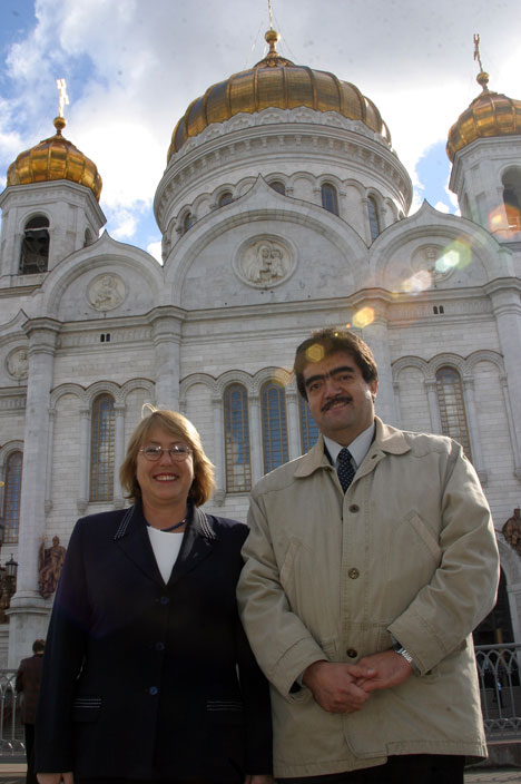 Michelle Bachelet y Patricio Cortes (Encargado de Relaciones Publicas y Comunicaciones de la Asociacion)